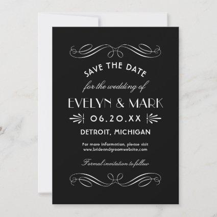 Black and White Art Deco Wedding Save The Date