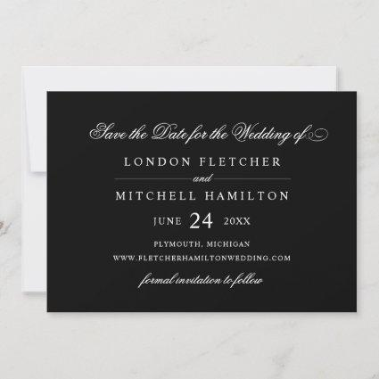 Black and White Classic Elegance | Wedding Save The Date