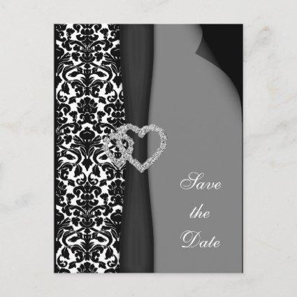 Black and White Damask FAUX ribbon diamante design Announcements Cards