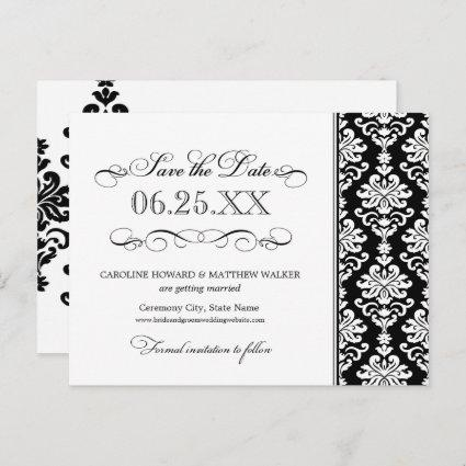 Black and White Elegant Damask Save the Date Announcement