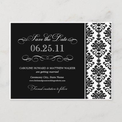 Black and White Elegant Damask  Announcements Cards