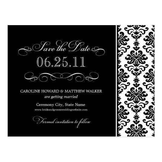 Black and White Elegant Damask Save the Date Cards