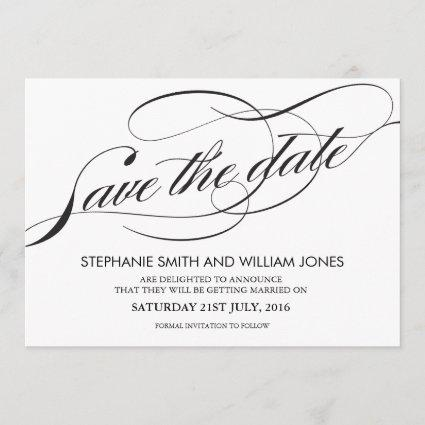 Black and White Flourish Swirl Save The Date
