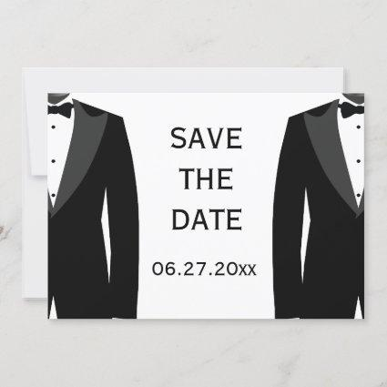 Black And White Gay Wedding Save The Date Card