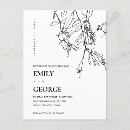 BLACK AND WHITE LINE DRAWING FLORAL SAVE THE DATE ANNOUNCEMENT