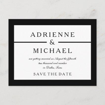 Black and White Minimal Save the Date Announcement