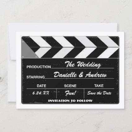 Black and White Movie Clap Board Wedding Save The Date