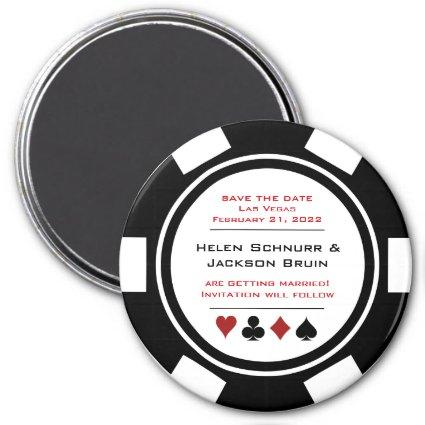 Black and White Poker Chip Wedding Save The Date Magnet