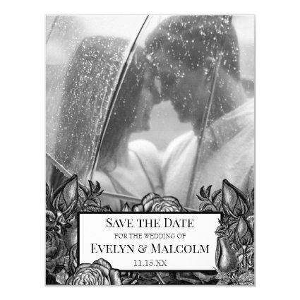 Black and White Roses Photo Save the Date Invitation