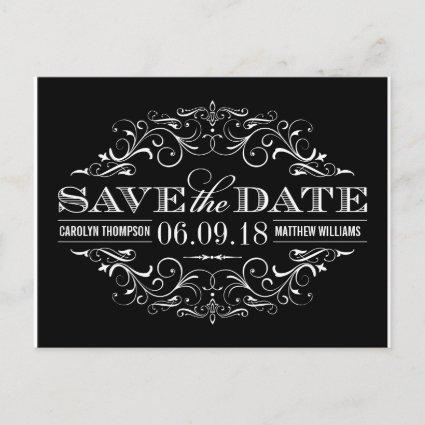Black and White Save the Date | Swirl and Flourish Announcement