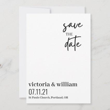 black and white trendy modern Flat Save The Date