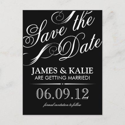 Black and White Vintage Script Save the Date Announcement