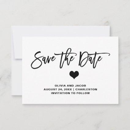 Black and White with Heart | Photo Back Save The Date