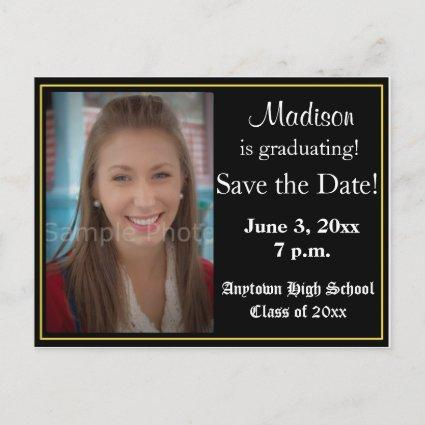 Black and Yellow Graduation Save the Date Cards