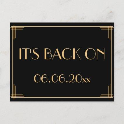 Black Art Deco Gatsby Save The Date Its Back On Announcement