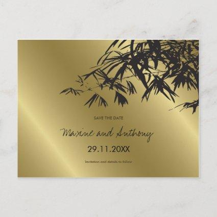 Black Bamboo Leaves On Gold Asian Save The Date Announcement