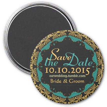 Black Baroque Gold teal Lace Save the Date Magnets