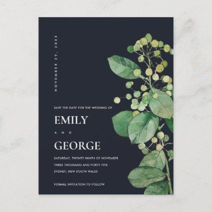 BLACK BERRY LEAFY FOLIAGE GREENERY SAVE THE DATE ANNOUNCEMENT