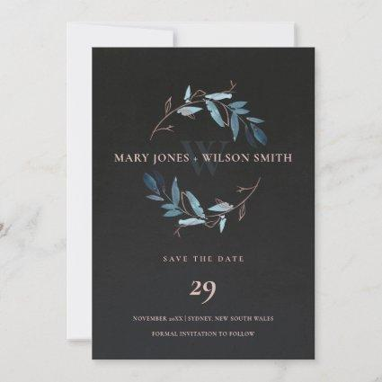 BLACK BLUE PINK FOLIAGE WREATH SAVE THE DATE CARD