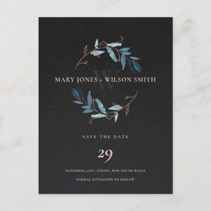 BLACK BLUE PINK ROSE FOLIAGE WREATH SAVE THE DATE ANNOUNCEMENT