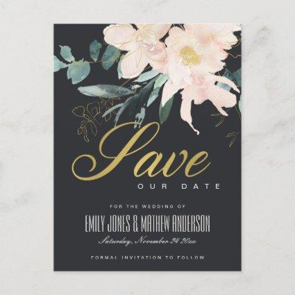 BLACK BLUSH FLORAL BUNCH WATERCOLOR SAVE THE DATE ANNOUNCEMENT