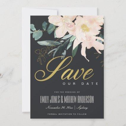 BLACK BLUSH GOLD FLORAL BUNCH WATERCOLOR WASH SAVE THE DATE