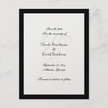 Black border monogram wedding Announcements