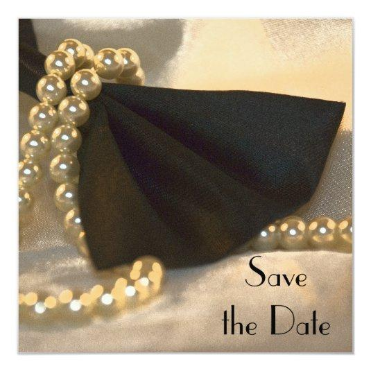 Black Bow Tie and White Pearls Save the Date Invitation
