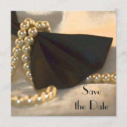 Black Bow Tie White Pearls Wedding Save the Date