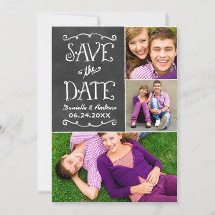 Black Chalkboard Charm | Wedding Photo Collage Save The Date