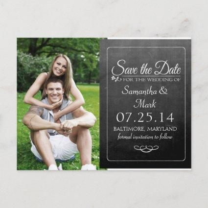 Black Chalkboard Photo Save the Date Announcements Cards