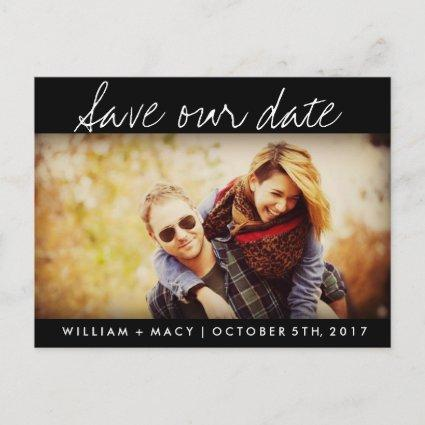 Black Custom Photo Wedding Save the Date Cards