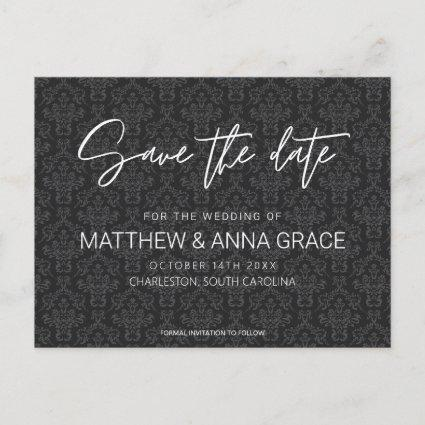 Black Damask Traditional Wedding Save the Date Announcement