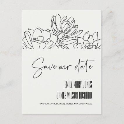 BLACK DESERT CACTI SUCCULENT SKETCH SAVE THE DATE ANNOUNCEMENT