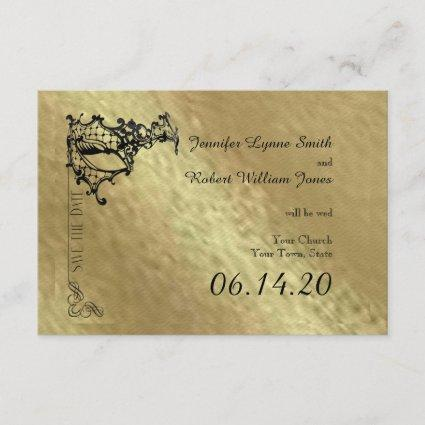 Black Filigree Mask on Gold Save the Date