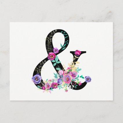 Black Floral Modern Ampersand Chic Save the Date Announcement
