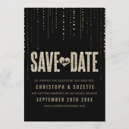 Black & Gold Glitter Look Save The Dates Save The Date