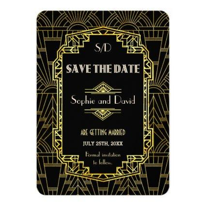 Black & Gold Great Gatsby Art Deco Save The Date Invitation