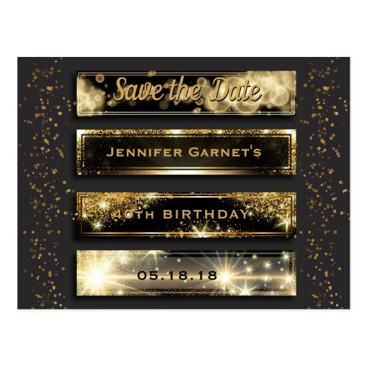Black Gold Save the Date Elegant Birthday Party