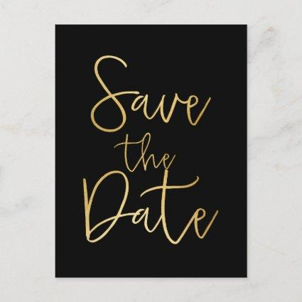 Black & Gold SAVE THE DATE Script Type