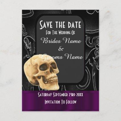 Black gothic skull save the date announcement