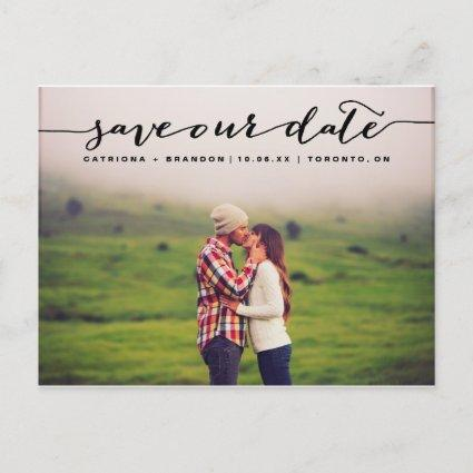 Black Handwritten Script Photo Save Our Date Announcements Cards