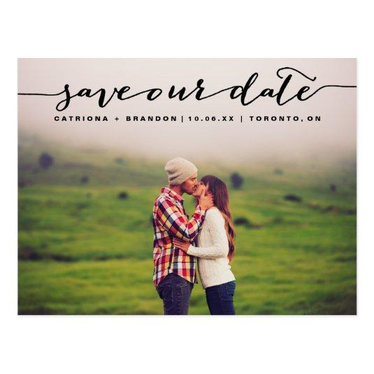 Black Handwritten Script Photo Save Our Date Cards