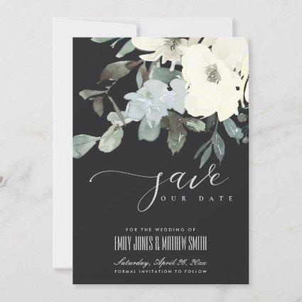 BLACK IVORY WHITE AQUA FLORAL WATERCOLOR BUNCH SAVE THE DATE