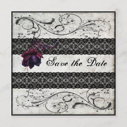 Black Lace Wedding Save the Date