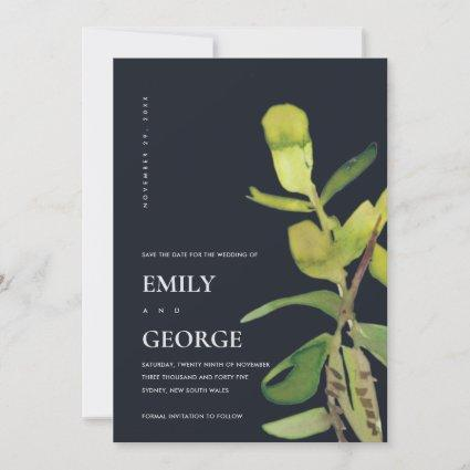 BLACK LEAFY WATERCOLOR FOLIAGE SAVE THE DATE CARD