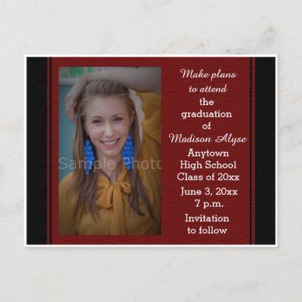 Black Maroon Photo Graduation Save the Date Card