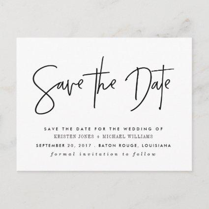 Black Modern Save the Date Announcement