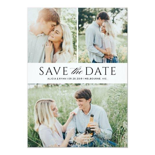 Black multiple photos save the date card