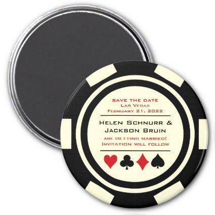 Black Off White Poker Chip Casino Save The Date Magnet